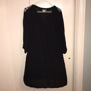 H & M black dress with lace sleeve and waist tie